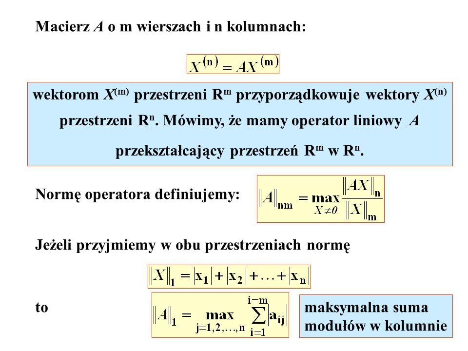 Macierz A o m wierszach i n kolumnach: wektorom X (m) przestrzeni R m przyporządkowuje wektory X (n) przestrzeni R n. Mówimy, że mamy operator liniowy