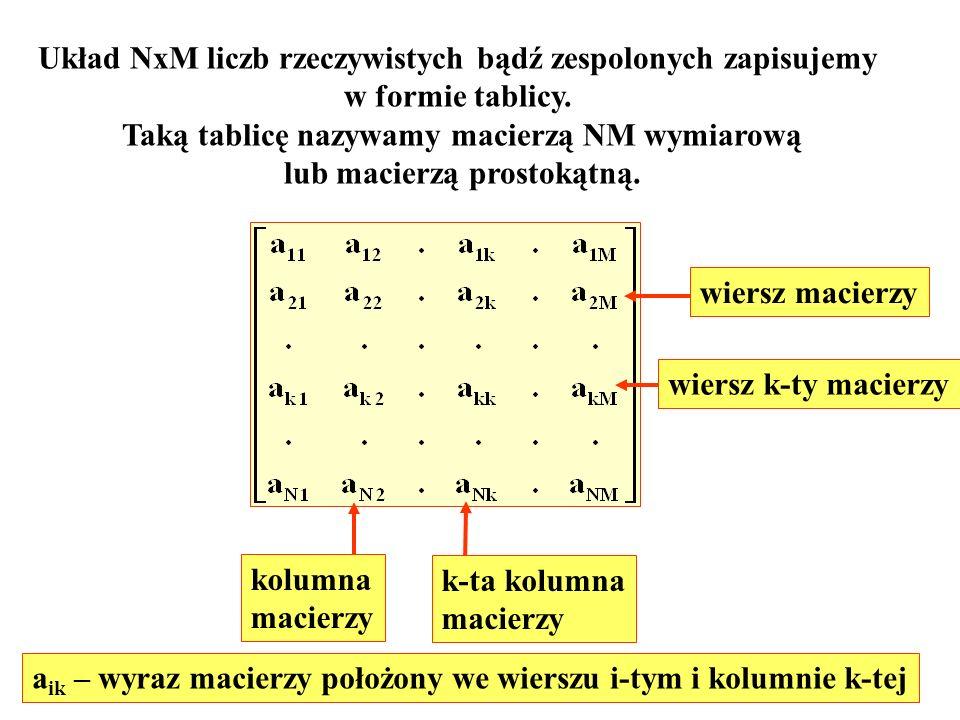 Układ NxM liczb rzeczywistych bądź zespolonych zapisujemy w formie tablicy. Taką tablicę nazywamy macierzą NM wymiarową lub macierzą prostokątną. wier