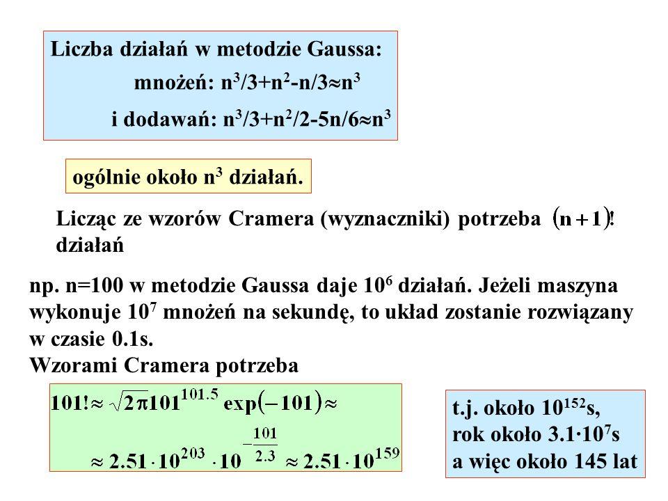 Liczba działań w metodzie Gaussa: mnożeń: n 3 /3+n 2 -n/3 n 3 i dodawań: n 3 /3+n 2 /2-5n/6 n 3 ogólnie około n 3 działań. Licząc ze wzorów Cramera (w