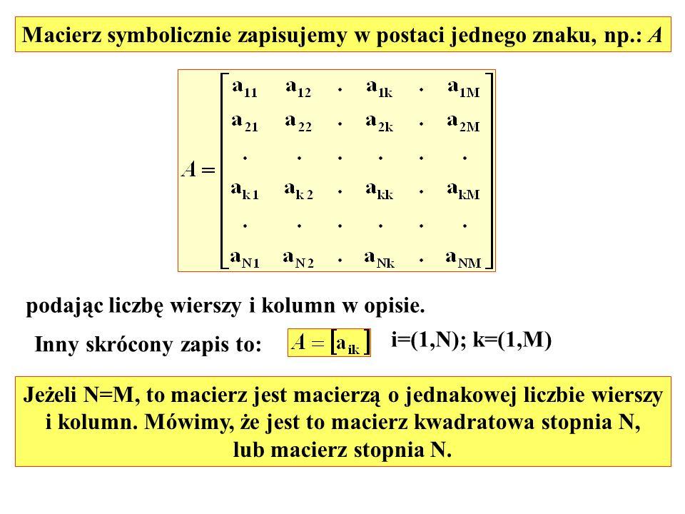 Macierz symbolicznie zapisujemy w postaci jednego znaku, np.: A podając liczbę wierszy i kolumn w opisie. Inny skrócony zapis to: i=(1,N); k=(1,M) Jeż