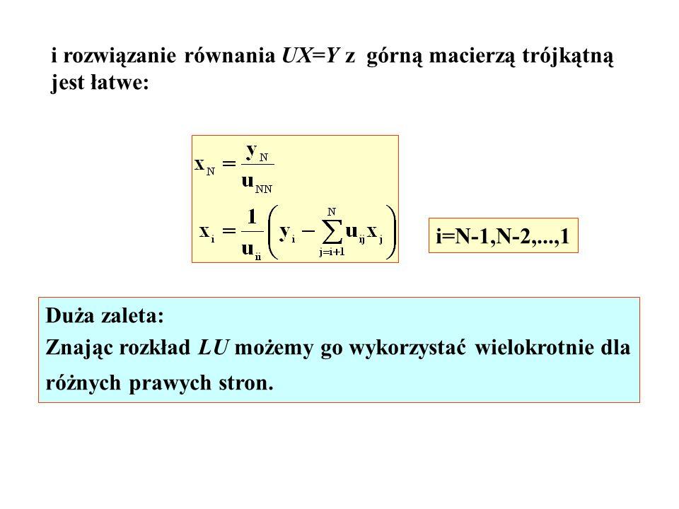 i rozwiązanie równania UX=Y z górną macierzą trójkątną jest łatwe: i=N-1,N-2,...,1 Duża zaleta: Znając rozkład LU możemy go wykorzystać wielokrotnie d