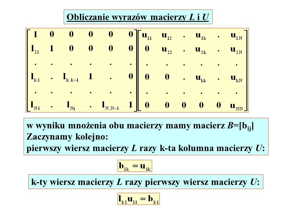 Obliczanie wyrazów macierzy L i U w wyniku mnożenia obu macierzy mamy macierz B=[b ij ] Zaczynamy kolejno: pierwszy wiersz macierzy L razy k-ta kolumn