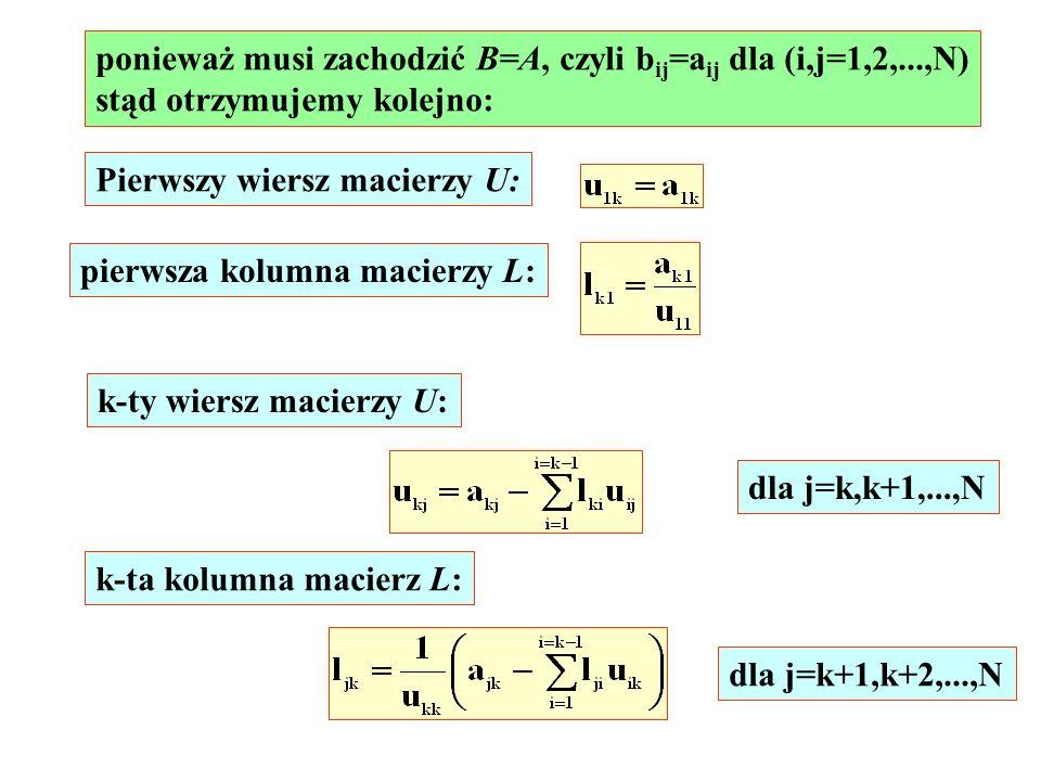 ponieważ musi zachodzić B=A, czyli b ij =a ij dla (i,j=1,2,...,N) stąd otrzymujemy kolejno: Pierwszy wiersz macierzy U: pierwsza kolumna macierzy L: k