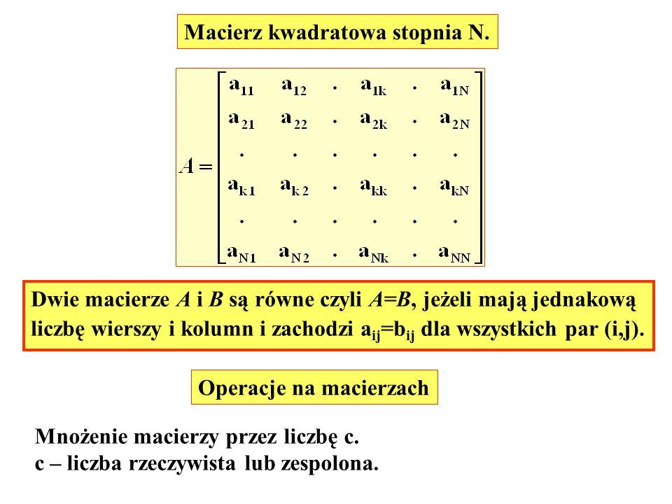 Macierz kwadratowa stopnia N. Operacje na macierzach Mnożenie macierzy przez liczbę c. c – liczba rzeczywista lub zespolona. Dwie macierze A i B są ró