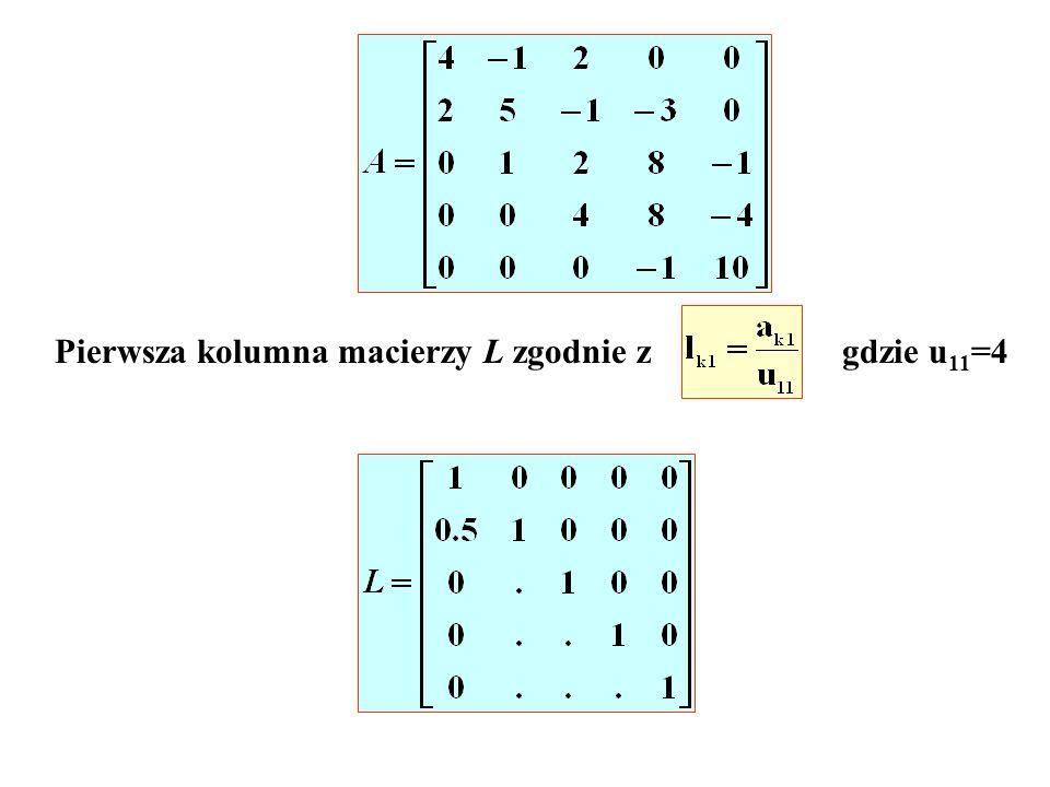 Pierwsza kolumna macierzy L zgodnie zgdzie u 11 =4