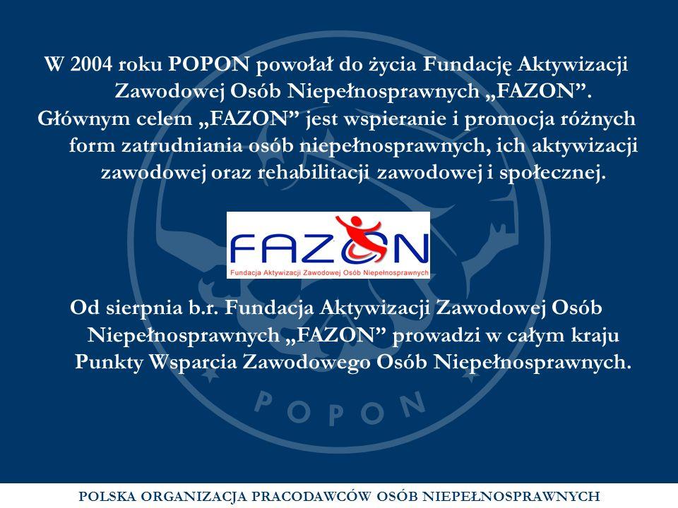 W 2004 roku POPON powołał do życia Fundację Aktywizacji Zawodowej Osób Niepełnosprawnych FAZON. Głównym celem FAZON jest wspieranie i promocja różnych