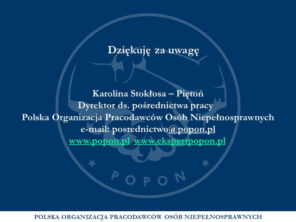 POLSKA ORGANIZACJA PRACODAWCÓW OSÓB NIEPEŁNOSPRAWNYCH Dziękuję za uwagę Karolina Stokłosa – Piętoń Dyrektor ds. pośrednictwa pracy Polska Organizacja