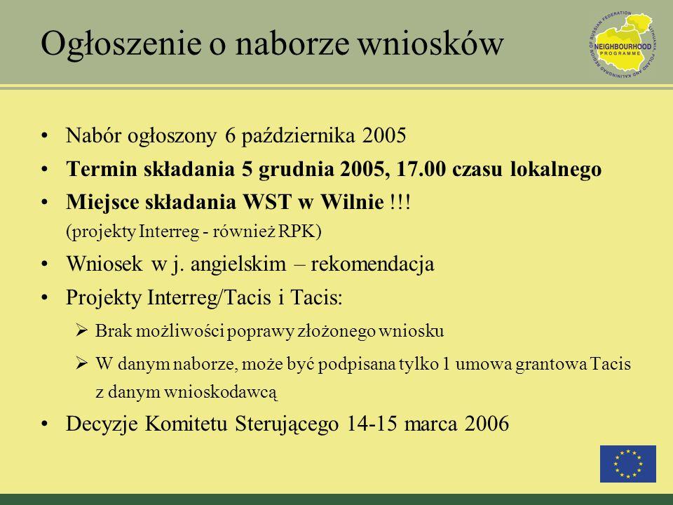 Ogłoszenie o naborze wniosków Nabór ogłoszony 6 października 2005 Termin składania 5 grudnia 2005, 17.00 czasu lokalnego Miejsce składania WST w Wilnie !!.
