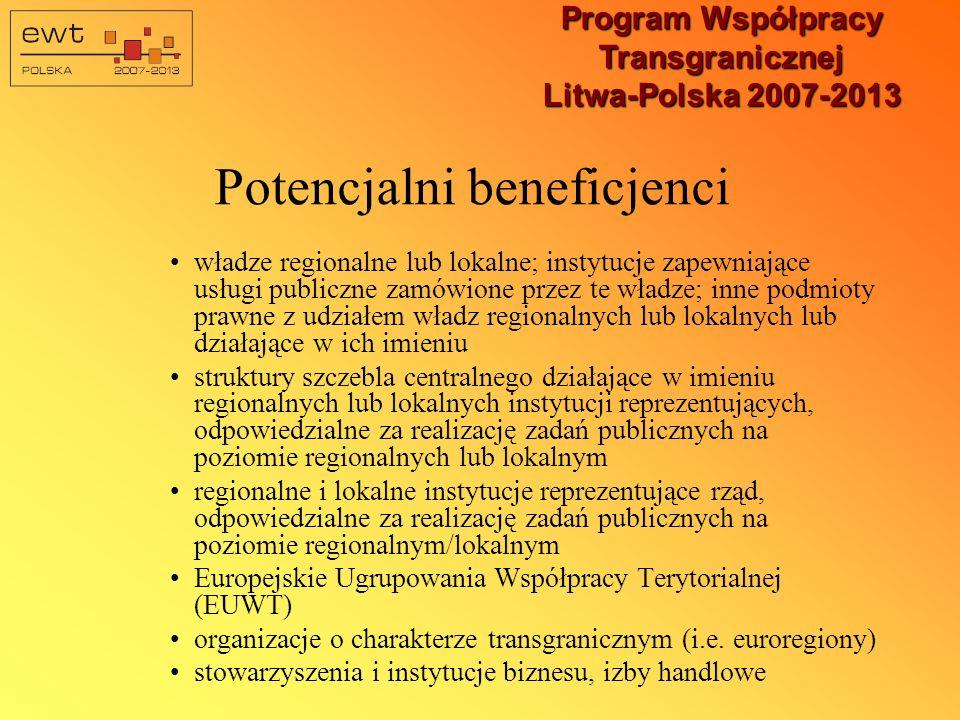 Program Współpracy Transgranicznej Litwa-Polska 2007-2013 Potencjalni beneficjenci władze regionalne lub lokalne; instytucje zapewniające usługi publiczne zamówione przez te władze; inne podmioty prawne z udziałem władz regionalnych lub lokalnych lub działające w ich imieniu struktury szczebla centralnego działające w imieniu regionalnych lub lokalnych instytucji reprezentujących, odpowiedzialne za realizację zadań publicznych na poziomie regionalnych lub lokalnym regionalne i lokalne instytucje reprezentujące rząd, odpowiedzialne za realizację zadań publicznych na poziomie regionalnym/lokalnym Europejskie Ugrupowania Współpracy Terytorialnej (EUWT) organizacje o charakterze transgranicznym (i.e.