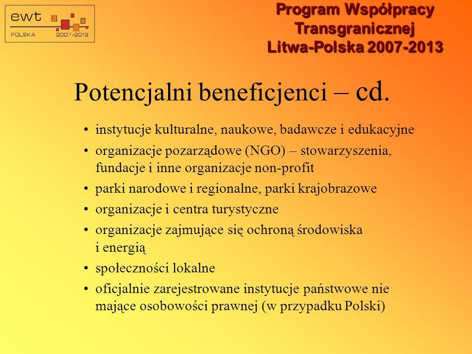Program Współpracy Transgranicznej Litwa-Polska 2007-2013 Potencjalni beneficjenci – cd.