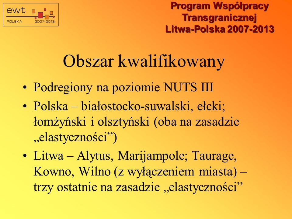 Uwaga: Mapa obszaru kwalifikowalnego Programu nie uwzględnia Wilna