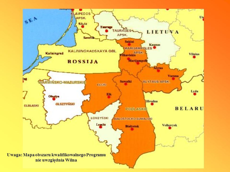 Program Współpracy Transgranicznej Litwa-Polska 2007-2013 Zasada elastyczności dotyczy obszarów położonych niebezpośrednio przy granicy, przylegających do obszarów przygranicznych zgodnie z tą regułą maksymalnie do 20% wszystkich środków z budżetu Programu może być przekazanych w ramach wsparcia projektów w regionach nią objętych