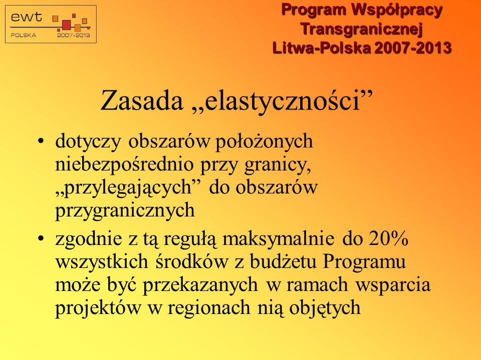 Program Współpracy Transgranicznej Litwa-Polska 2007-2013 Zasady kwalifikowalności projektów infrastrukturalnych Lokalizacja na obszarach położonych w stosunkowo niewielkiej odległości od granicy (mniej więcej 100 kilometrów od granicy w przypadku polskich regionów) Projekty infrastrukturalne co do zasady będą mogły być realizowane w ściśle określonych powiatach, których lista zostanie dołączona do dokumentu programowego