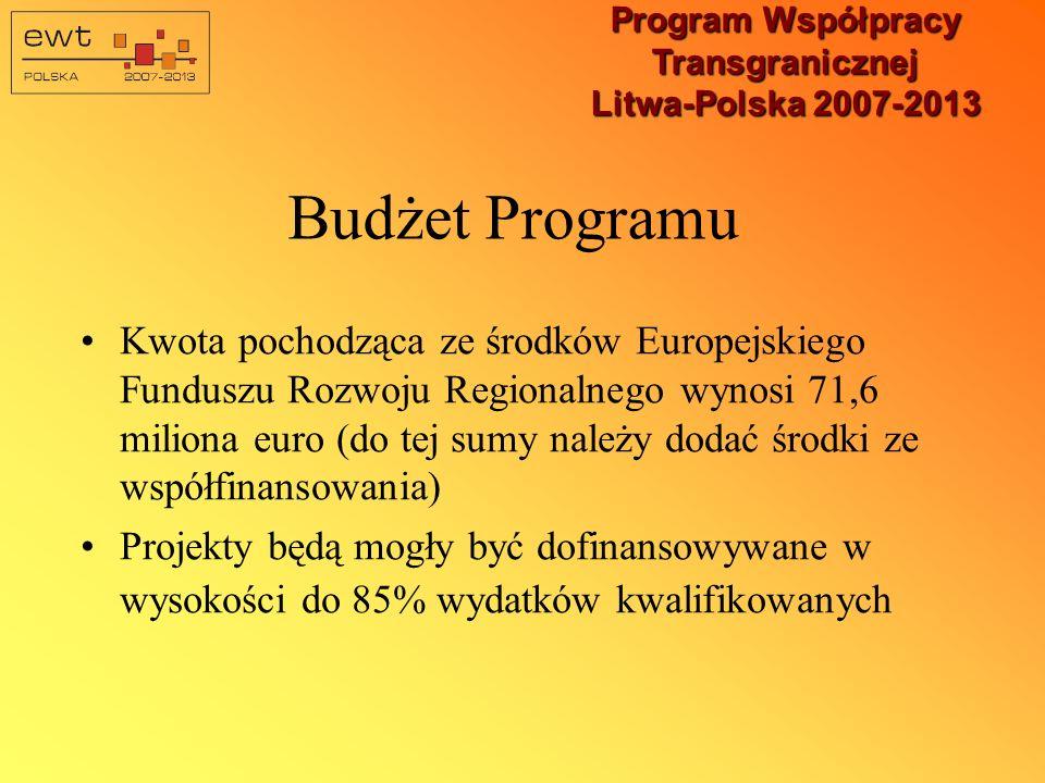 Program Współpracy Transgranicznej Litwa-Polska 2007-2013 Osie priorytetowe Programu Inwestycje w infrastrukturę transgraniczną, wsparte przez współpracę gospodarczą i naukowo/technologiczną w celu zwiększenia konkurencyjności i wzrostu produktywności w regionie oraz poprawy warunków życia Wzmocnienie spójności transgranicznej i rozwiązywanie problemów społecznych poprzez promowanie inicjatyw transgranicznych na poziomie regionalnym i lokalnym oraz kontaktów społeczności lokalnych; zachowanie tożsamości kulturowej i historycznej Pomoc Techniczna