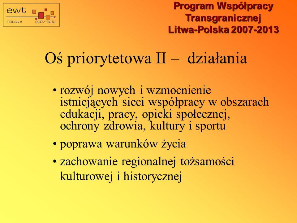 Program Współpracy Transgranicznej Litwa-Polska 2007-2013 Oś priorytetowa II – działania rozwój nowych i wzmocnienie istniejących sieci współpracy w obszarach edukacji, pracy, opieki społecznej, ochrony zdrowia, kultury i sportu poprawa warunków życia zachowanie regionalnej tożsamości kulturowej i historycznej