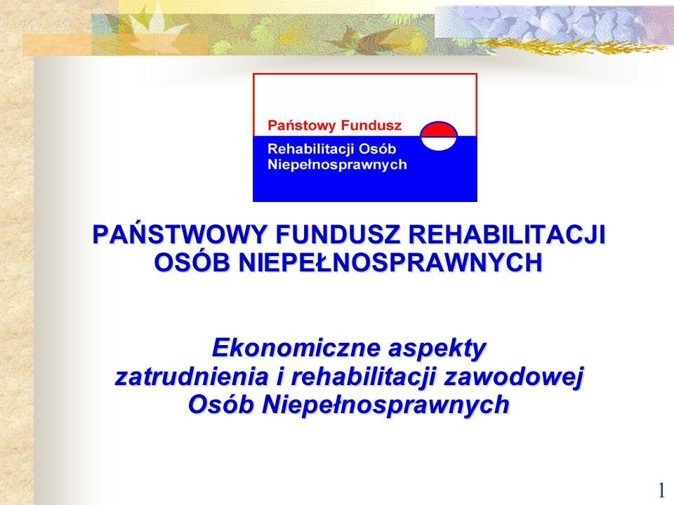 1 PAŃSTWOWY FUNDUSZ REHABILITACJI OSÓB NIEPEŁNOSPRAWNYCH Ekonomiczne aspekty zatrudnienia i rehabilitacji zawodowej Osób Niepełnosprawnych