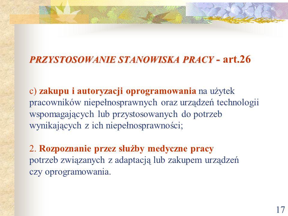 17 PRZYSTOSOWANIE STANOWISKA PRACY - PRZYSTOSOWANIE STANOWISKA PRACY - art.26 c) zakupu i autoryzacji oprogramowania na użytek pracowników niepełnospr