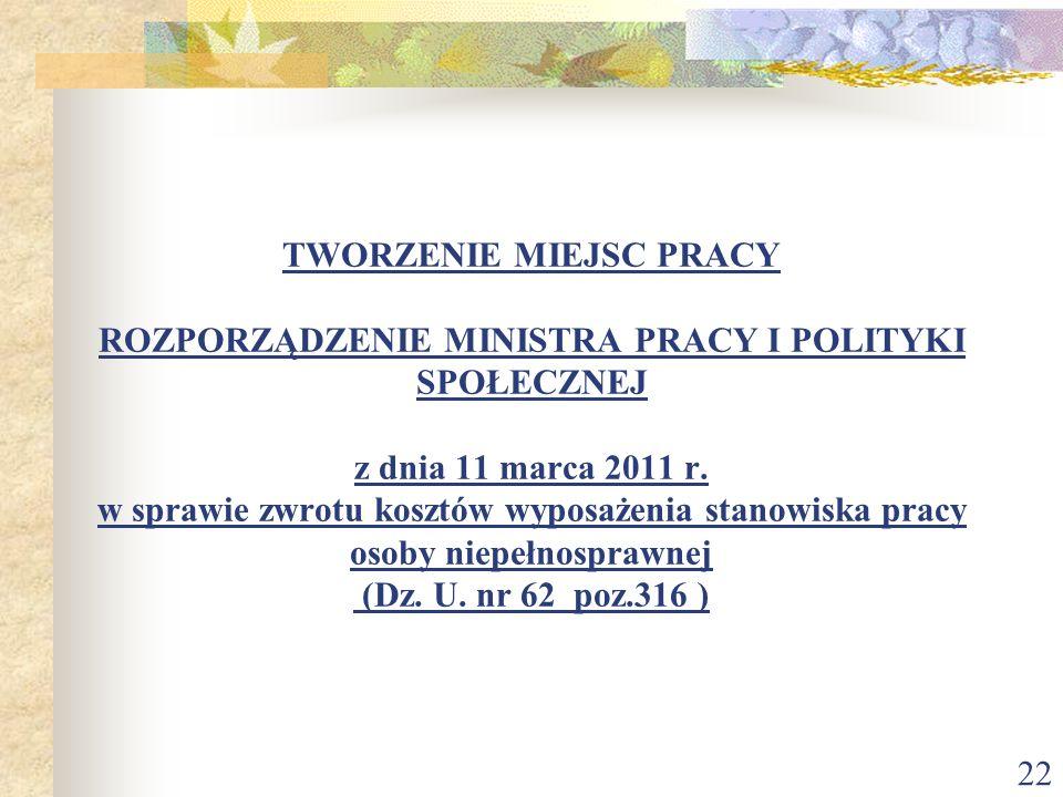 22 TWORZENIE MIEJSC PRACY ROZPORZĄDZENIE MINISTRA PRACY I POLITYKI SPOŁECZNEJ z dnia 11 marca 2011 r. w sprawie zwrotu kosztów wyposażenia stanowiska