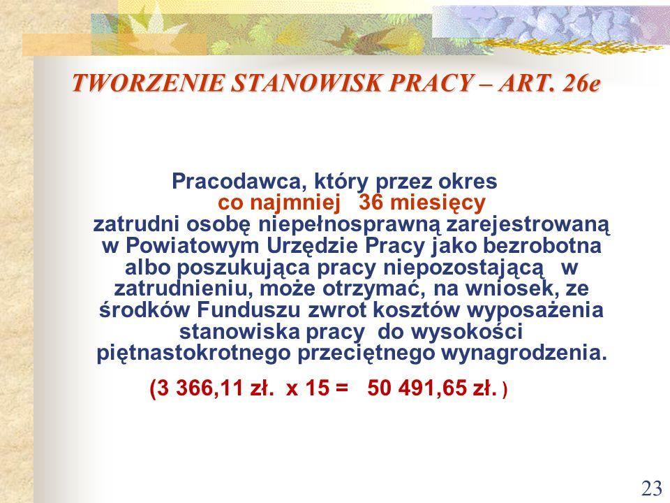 23 TWORZENIE STANOWISK PRACY – ART. 26e Pracodawca, który przez okres co najmniej 36 miesięcy zatrudni osobę niepełnosprawną zarejestrowaną w Powiatow