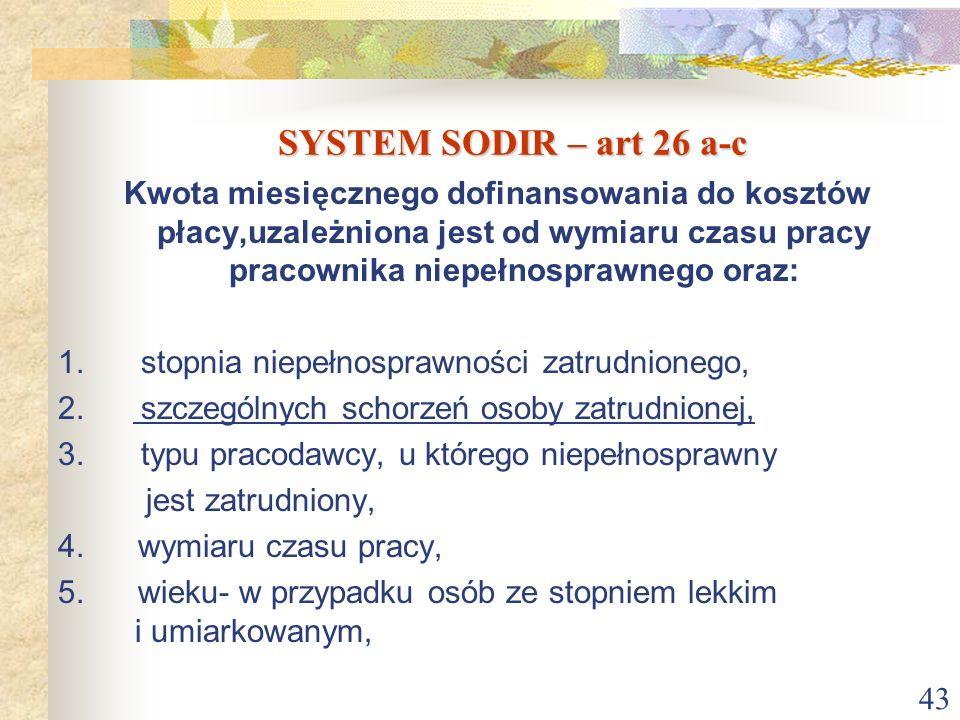 43 SYSTEM SODIR – art 26 a-c Kwota miesięcznego dofinansowania do kosztów płacy,uzależniona jest od wymiaru czasu pracy pracownika niepełnosprawnego o