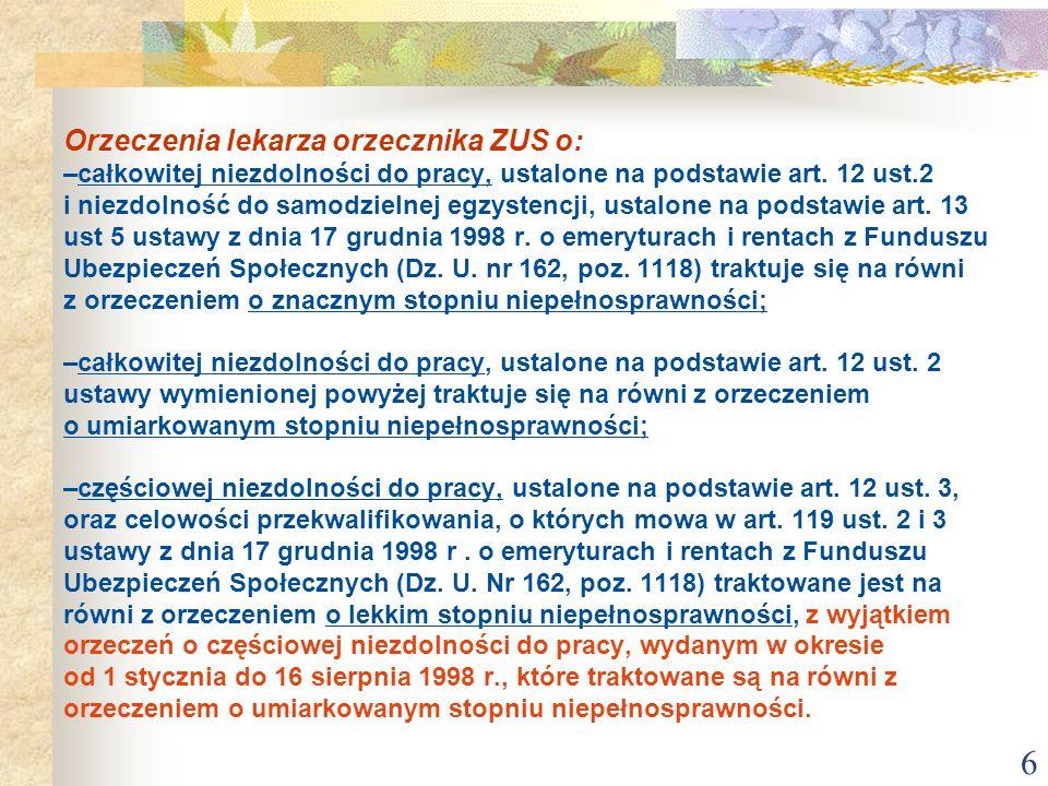 6 Orzeczenia lekarza orzecznika ZUS o: –całkowitej niezdolności do pracy, ustalone na podstawie art. 12 ust.2 i niezdolność do samodzielnej egzystencj