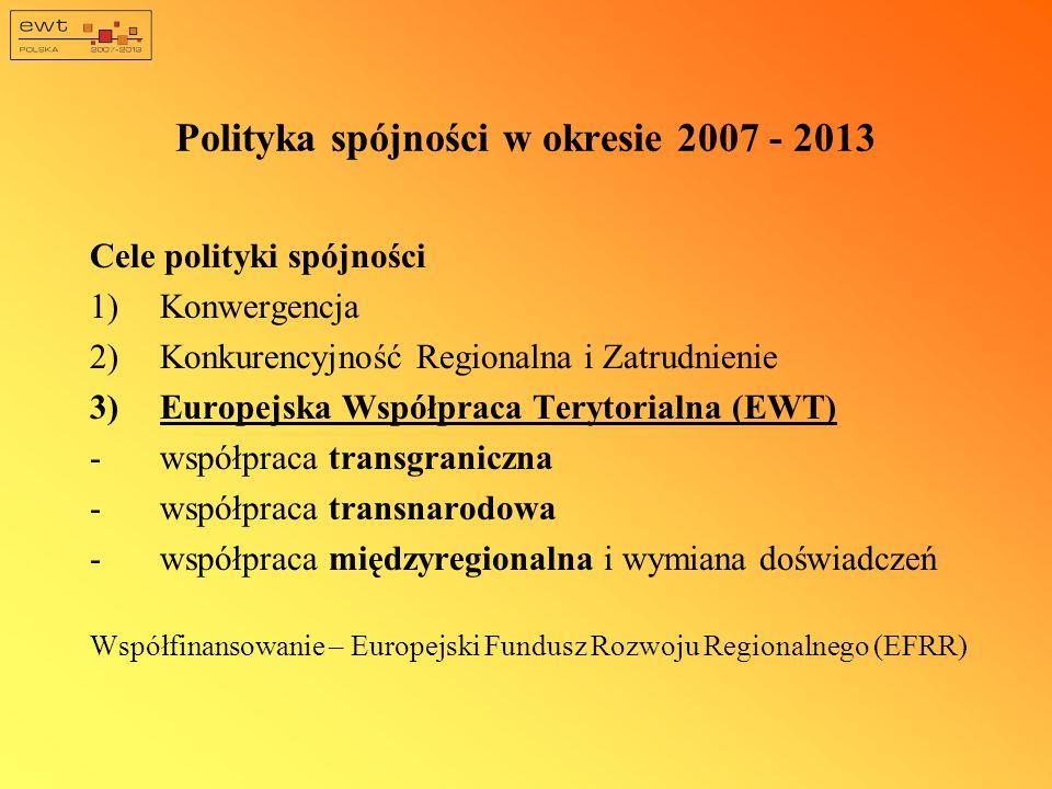 Polityka spójności w okresie 2007 - 2013 Cele polityki spójności 1)Konwergencja 2)Konkurencyjność Regionalna i Zatrudnienie 3)Europejska Współpraca Terytorialna (EWT) -współpraca transgraniczna -współpraca transnarodowa -współpraca międzyregionalna i wymiana doświadczeń Współfinansowanie – Europejski Fundusz Rozwoju Regionalnego (EFRR)