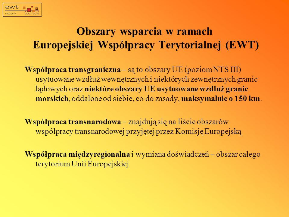 Obszary wsparcia w ramach Europejskiej Współpracy Terytorialnej (EWT) Współpraca transgraniczna – są to obszary UE (poziom NTS III) usytuowane wzdłuż