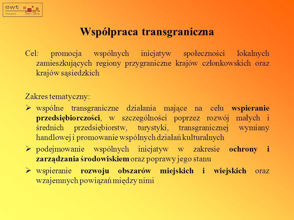 Współpraca transgraniczna Cel: promocja wspólnych inicjatyw społeczności lokalnych zamieszkujących regiony przygraniczne krajów członkowskich oraz krajów sąsiedzkich Zakres tematyczny: wspólne transgraniczne działania mające na celu wspieranie przedsiębiorczości, w szczególności poprzez rozwój małych i średnich przedsiębiorstw, turystyki, transgranicznej wymiany handlowej i promowanie wspólnych działań kulturalnych podejmowanie wspólnych inicjatyw w zakresie ochrony i zarządzania środowiskiem oraz poprawy jego stanu wspieranie rozwoju obszarów miejskich i wiejskich oraz wzajemnych powiązań między nimi