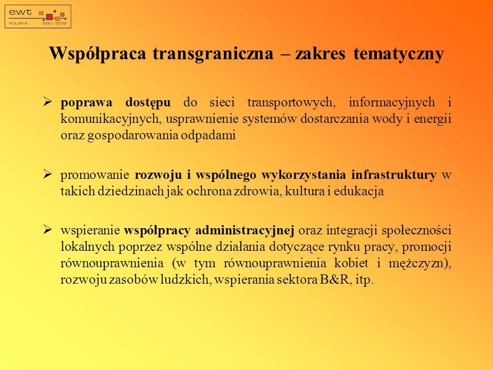 Współpraca transgraniczna – zakres tematyczny poprawa dostępu do sieci transportowych, informacyjnych i komunikacyjnych, usprawnienie systemów dostarc