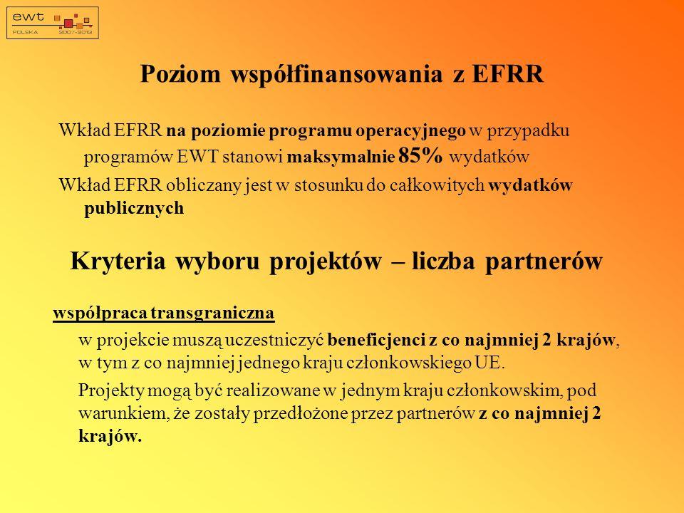 Poziom współfinansowania z EFRR Wkład EFRR na poziomie programu operacyjnego w przypadku programów EWT stanowi maksymalnie 85% wydatków Wkład EFRR obl
