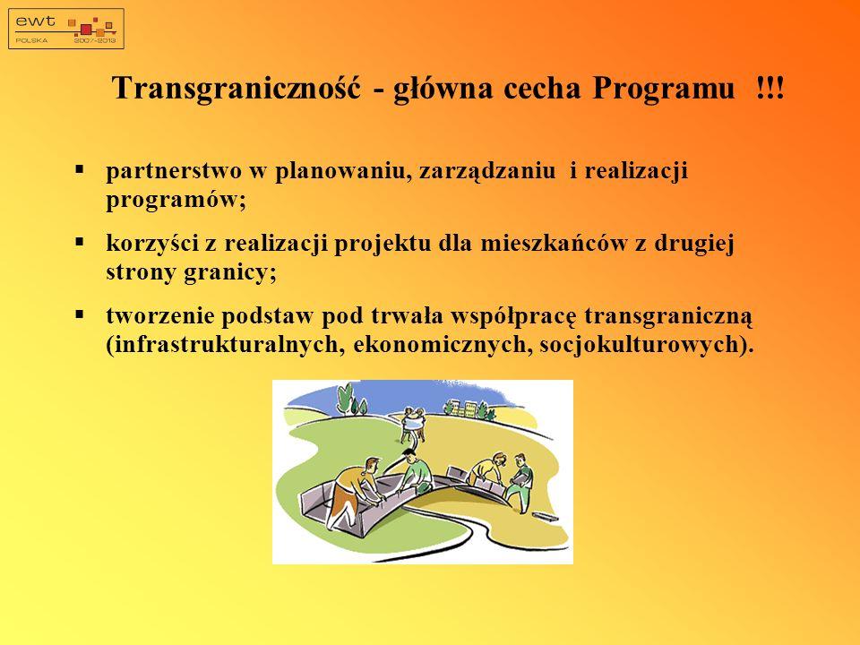 Transgraniczność - główna cecha Programu !!! partnerstwo w planowaniu, zarządzaniu i realizacji programów; korzyści z realizacji projektu dla mieszkań