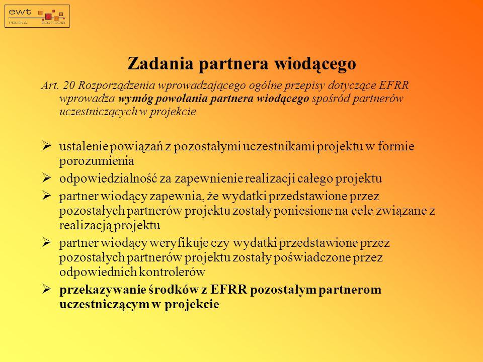 Zadania partnera wiodącego Art. 20 Rozporządzenia wprowadzającego ogólne przepisy dotyczące EFRR wprowadza wymóg powołania partnera wiodącego spośród