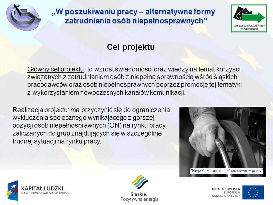 2 Główny cel projektu: to wzrost świadomości oraz wiedzy na temat korzyści związanych z zatrudnianiem osób z niepełną sprawnością wśród śląskich pracodawców oraz osób niepełnosprawnych poprzez promocję tej tematyki z wykorzystaniem nowoczesnych kanałów komunikacji.