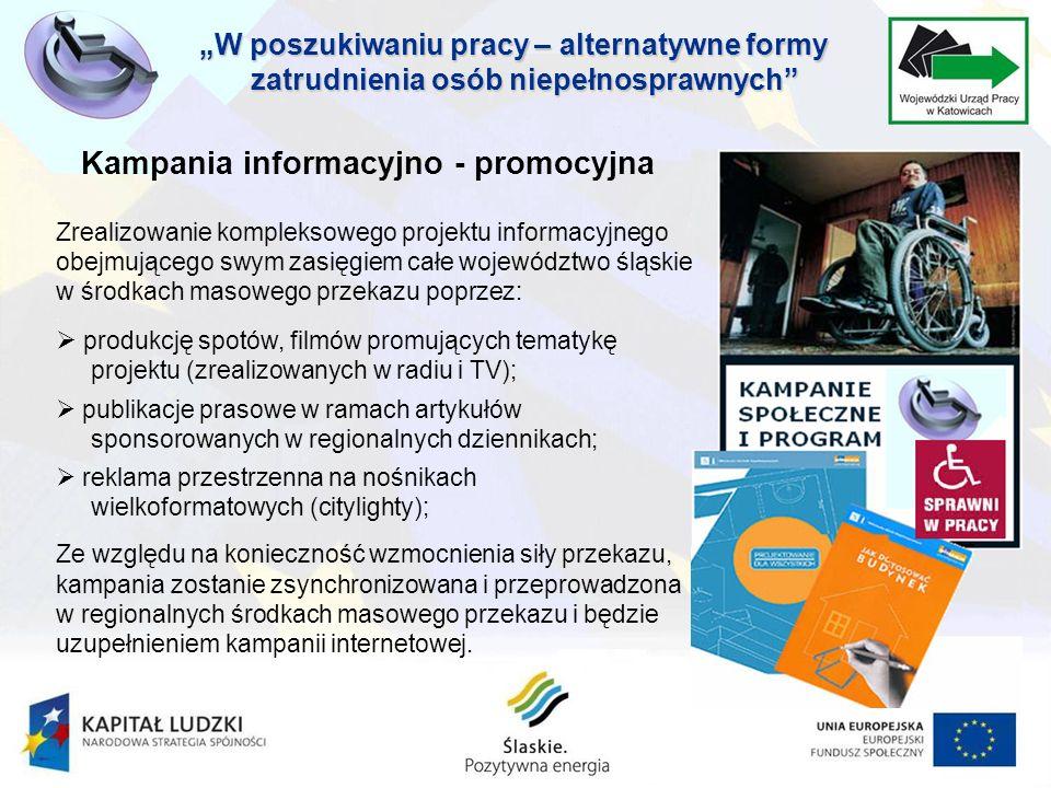Kampania informacyjno - promocyjna Zrealizowanie kompleksowego projektu informacyjnego obejmującego swym zasięgiem całe województwo śląskie w środkach masowego przekazu poprzez:.