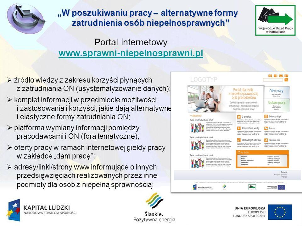 źródło wiedzy z zakresu korzyści płynących z zatrudniania ON (usystematyzowanie danych); komplet informacji w przedmiocie możliwości i zastosowania i korzyści, jakie dają alternatywne i elastyczne formy zatrudniania ON; platforma wymiany informacji pomiędzy pracodawcami i ON (fora tematyczne); oferty pracy w ramach internetowej giełdy pracy w zakładce dam pracę; adresy/linki/strony www informujące o innych przedsięwzięciach realizowanych przez inne podmioty dla osób z niepełną sprawnością; Portal internetowy www.sprawni-niepelnosprawni.pl www.sprawni-niepelnosprawni.pl W poszukiwaniu pracy – alternatywne formy zatrudnienia osób niepełnosprawnych
