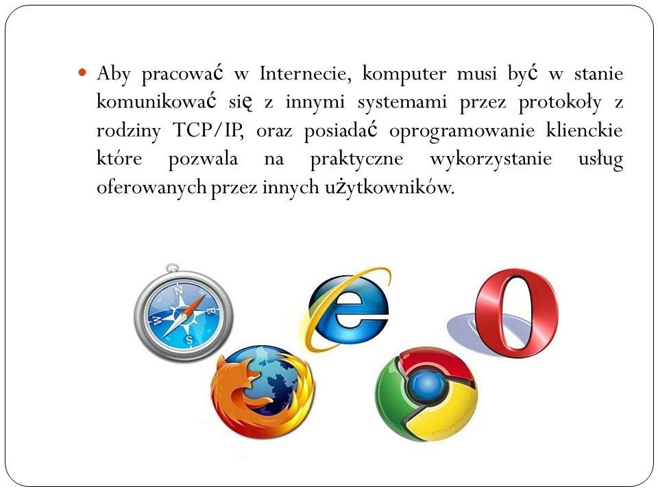 Aby pracowa ć w Internecie, komputer musi by ć w stanie komunikowa ć si ę z innymi systemami przez protokoły z rodziny TCP/IP, oraz posiada ć oprogram