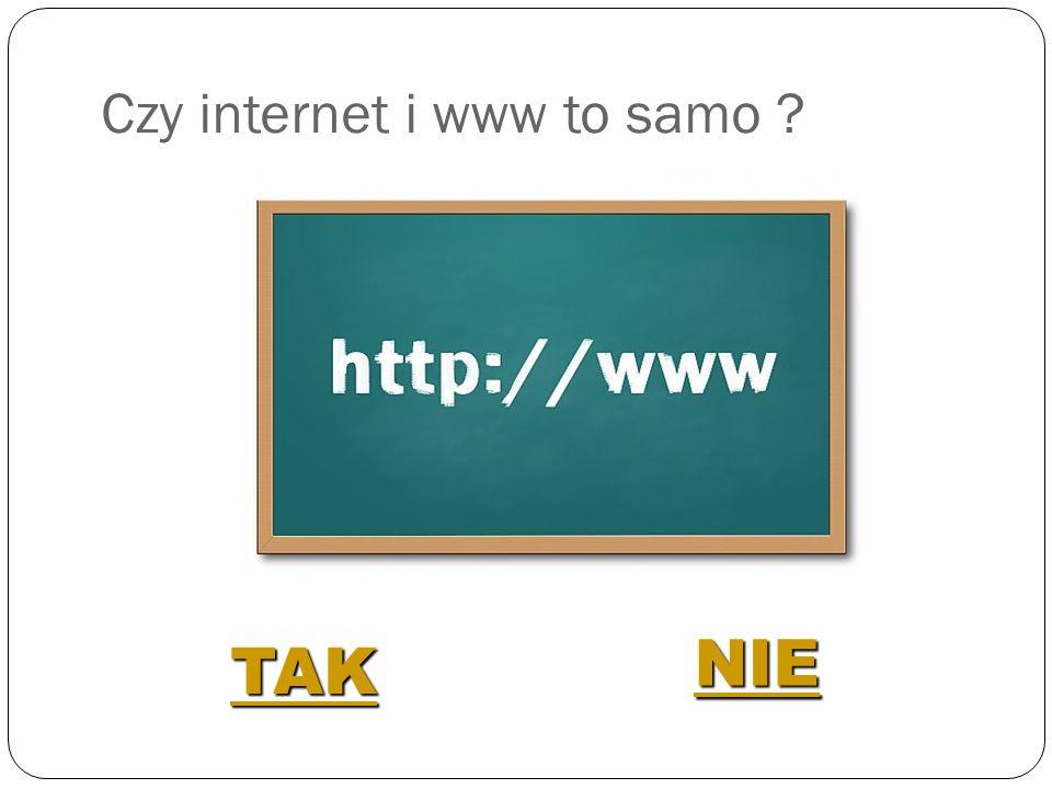 Czy internet i www to samo ? TAK NIE