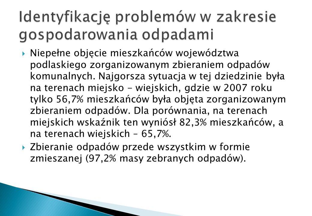 Niepełne objęcie mieszkańców województwa podlaskiego zorganizowanym zbieraniem odpadów komunalnych. Najgorsza sytuacja w tej dziedzinie była na terena