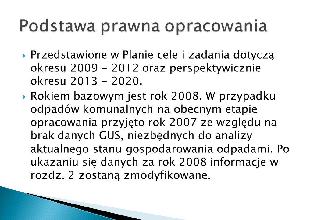 Przedstawione w Planie cele i zadania dotyczą okresu 2009 - 2012 oraz perspektywicznie okresu 2013 - 2020. Rokiem bazowym jest rok 2008. W przypadku o