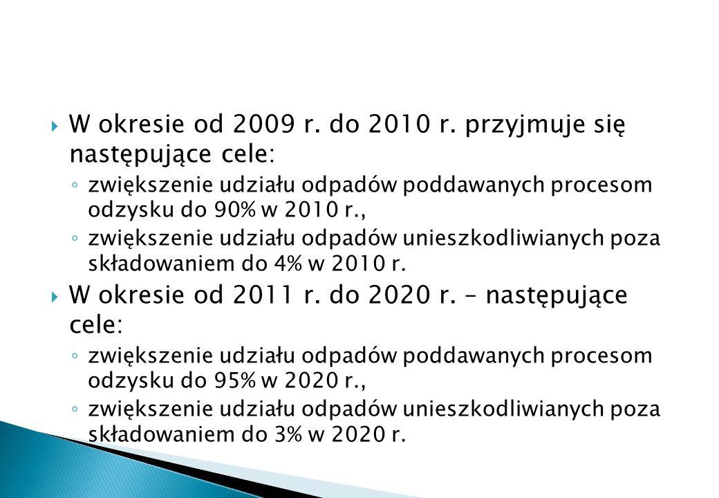 W okresie od 2009 r. do 2010 r. przyjmuje się następujące cele: zwiększenie udziału odpadów poddawanych procesom odzysku do 90% w 2010 r., zwiększenie