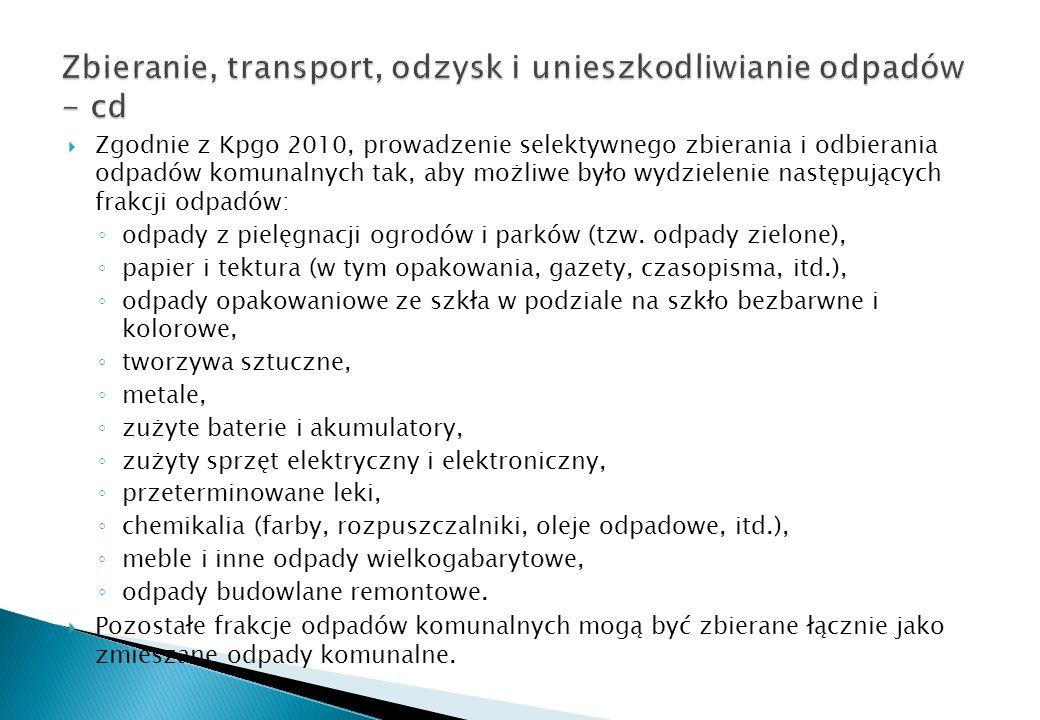 Zgodnie z Kpgo 2010, prowadzenie selektywnego zbierania i odbierania odpadów komunalnych tak, aby możliwe było wydzielenie następujących frakcji odpad