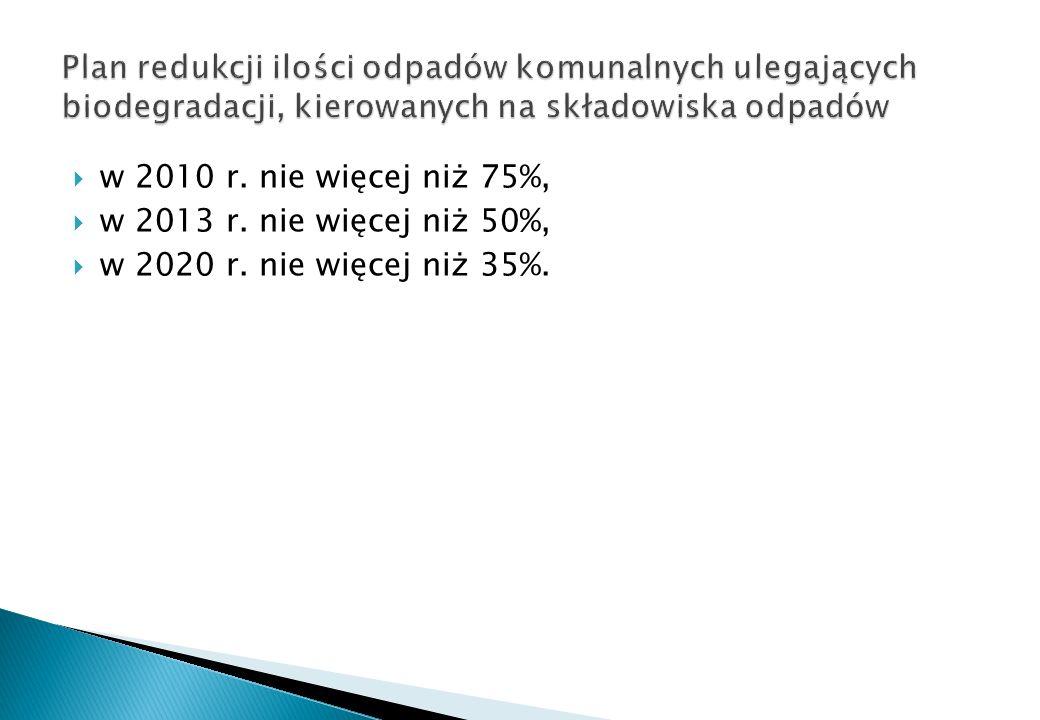 w 2010 r. nie więcej niż 75%, w 2013 r. nie więcej niż 50%, w 2020 r. nie więcej niż 35%.