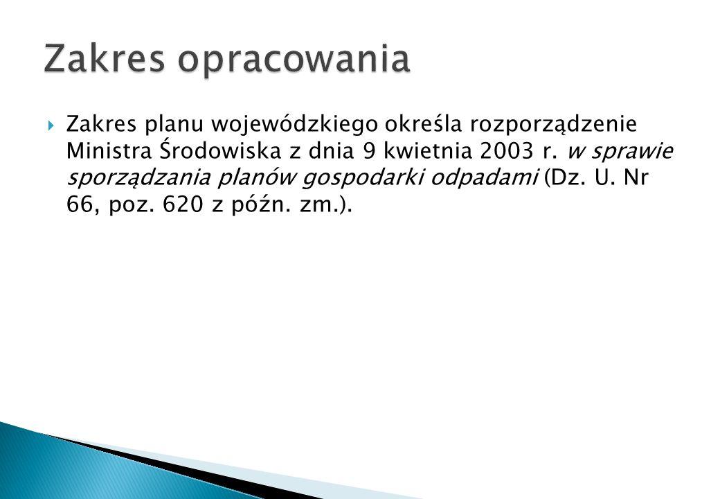 Zakres planu wojewódzkiego określa rozporządzenie Ministra Środowiska z dnia 9 kwietnia 2003 r. w sprawie sporządzania planów gospodarki odpadami (Dz.