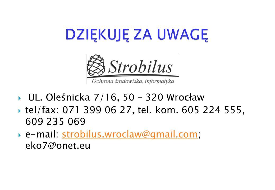 UL. Oleśnicka 7/16, 50 – 320 Wrocław tel/fax: 071 399 06 27, tel. kom. 605 224 555, 609 235 069 e-mail: strobilus.wroclaw@gmail.com; eko7@onet.eustrob