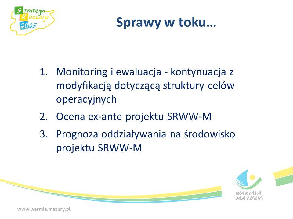 Sprawy w toku… 1.Monitoring i ewaluacja - kontynuacja z modyfikacją dotyczącą struktury celów operacyjnych 2.Ocena ex-ante projektu SRWW-M 3.Prognoza