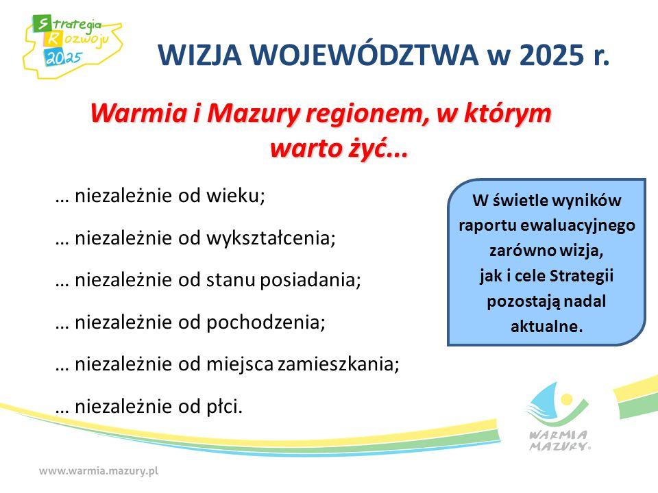 WIZJA WOJEWÓDZTWA w 2025 r. Warmia i Mazury regionem, w którym warto żyć... … niezależnie od wieku; … niezależnie od wykształcenia; … niezależnie od s