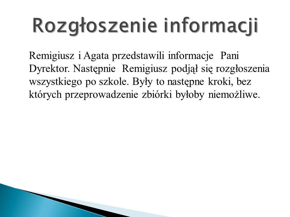 Remigiusz i Agata przedstawili informacje Pani Dyrektor. Następnie Remigiusz podjął się rozgłoszenia wszystkiego po szkole. Były to następne kroki, be