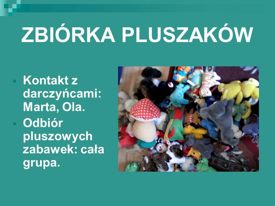 ZBIÓRKA PLUSZAKÓW Kontakt z darczyńcami: Marta, Ola. Odbiór pluszowych zabawek: cała grupa.