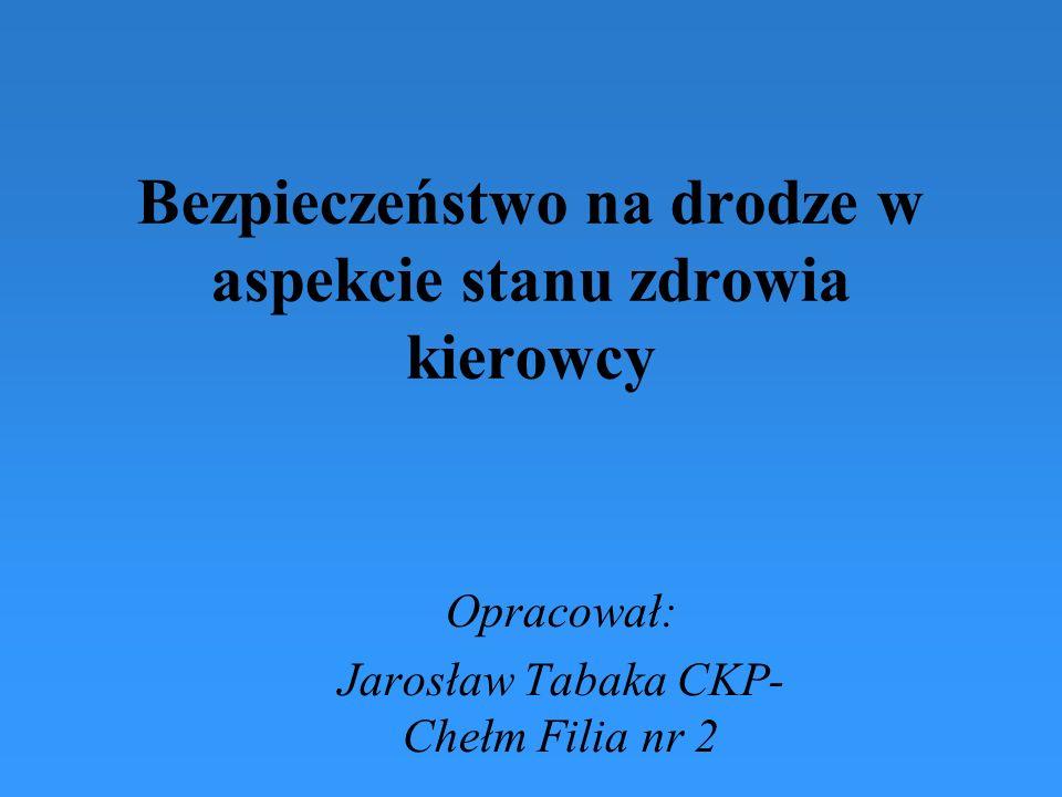 Bezpieczeństwo na drodze w aspekcie stanu zdrowia kierowcy Opracował: Jarosław Tabaka CKP- Chełm Filia nr 2