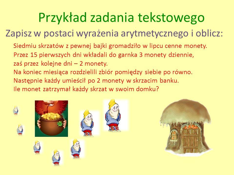 Zapisz w postaci wyrażenia arytmetycznego i oblicz: Przez 15 pierwszych dni wkładali do garnka 3 monety dziennie, zaś przez kolejne dni – 2 monety. Na